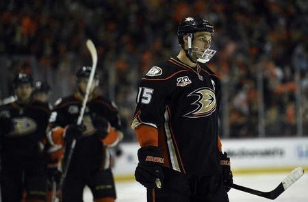 Apr 25, 2014; Anaheim, CA, USA; Anaheim Ducks center Ryan Getzlaf (15) skates down the ice after scoring a goal against the Dallas Stars during the third period in game five of the first round of the 2014 Stanley Cup Playoffs at Honda Center. The Anaheim Ducks won 6-2. Mandatory Credit: Kelvin Kuo-USA TODAY Sports -
