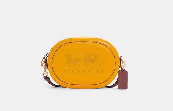Product photo of yellow and brown oval Camera Bag With Horse And Carriage embossed. Image via Coach Outlet.