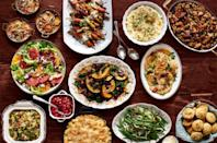 """<p>This rich menu will guarantee every single guest experiences a post-dinner food coma. </p><p><strong>Appetizer:</strong></p><p><a href=""""https://www.countryliving.com/food-drinks/a28069249/cable-knit-breadsticks-recipe/"""" rel=""""nofollow noopener"""" target=""""_blank"""" data-ylk=""""slk:Cable-Knit Breadsticks"""" class=""""link rapid-noclick-resp"""">Cable-Knit Breadsticks</a> with <a href=""""https://www.countryliving.com/food-drinks/a28068814/three-cheese-fondue-recipe/"""" rel=""""nofollow noopener"""" target=""""_blank"""" data-ylk=""""slk:Three Cheese Fondue"""" class=""""link rapid-noclick-resp"""">Three Cheese Fondue</a><br></p><p><strong>Main Course:</strong></p><p><a href=""""https://www.countryliving.com/food-drinks/recipes/a5933/pear-thyme-turkey-recipe-clx1114/"""" rel=""""nofollow noopener"""" target=""""_blank"""" data-ylk=""""slk:Pear-Thyme Brined Turkey"""" class=""""link rapid-noclick-resp"""">Pear-Thyme Brined Turkey</a> </p><p><span class=""""redactor-invisible-space""""><a href=""""https://www.countryliving.com/food-drinks/recipes/a36681/rosemary-and-bourbon-gravy/"""" rel=""""nofollow noopener"""" target=""""_blank"""" data-ylk=""""slk:Rosemary and Bourbon Gravy"""" class=""""link rapid-noclick-resp"""">Rosemary and Bourbon Gravy</a></span></p><p><strong>Sides:</strong><span class=""""redactor-invisible-space""""><br></span></p><p><span class=""""redactor-invisible-space""""> <a href=""""https://www.countryliving.com/food-drinks/recipes/a36671/fresh-herb-spoon-rolls/"""" rel=""""nofollow noopener"""" target=""""_blank"""" data-ylk=""""slk:Fresh Herb Spoon Rolls"""" class=""""link rapid-noclick-resp"""">Fresh Herb Spoon Rolls</a><span class=""""redactor-invisible-space""""><br></span></span></p><p><span class=""""redactor-invisible-space""""><span class=""""redactor-invisible-space""""><a href=""""https://www.countryliving.com/food-drinks/recipes/a36663/apricot-wild-rice-stuffing/"""" rel=""""nofollow noopener"""" target=""""_blank"""" data-ylk=""""slk:Apricot-Wild Rice Stuffing"""" class=""""link rapid-noclick-resp"""">Apricot-Wild Rice Stuffing</a><span class=""""redactor-invisible-space""""><br></span></span></span></p><p><span class=""""redactor-invisib"""
