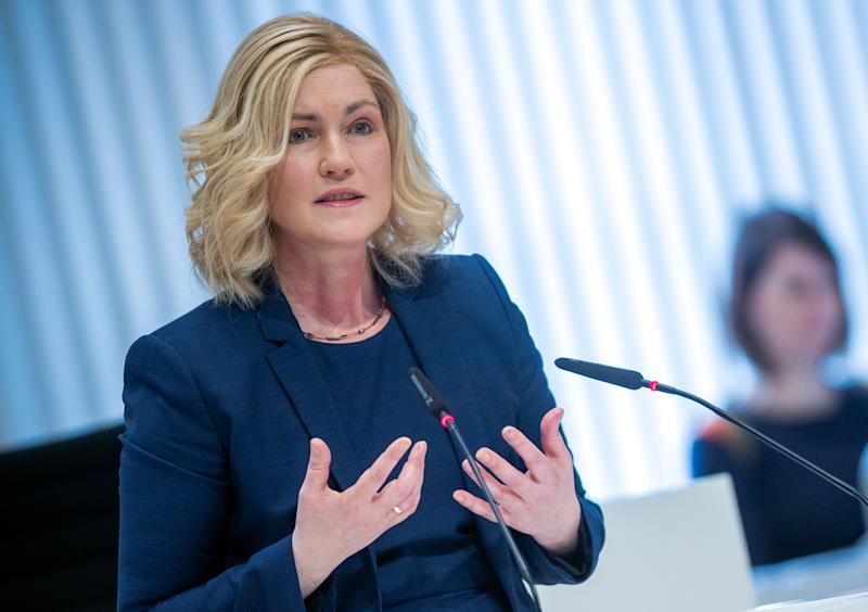 01 April 2020, Mecklenburg-Western Pomerania, Schwerin: Manuela Schwesig (SPD), the Prime Minister of Mecklenburg-Western Pomerania, will speak at the state parliament session. In a shortened session with decimated participation, the state parliament wants to pass an addendum to the 2020 budget and pass three important laws. Photo: Jens Büttner/dpa-Zentralbild/dpa (Photo by Jens Büttner/picture alliance via Getty Images)