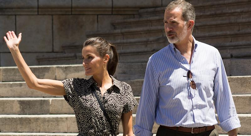 Queen Letizia of Spain wore a Mango jumpsuit last week during her royal tour in Spain. (Getty Images)