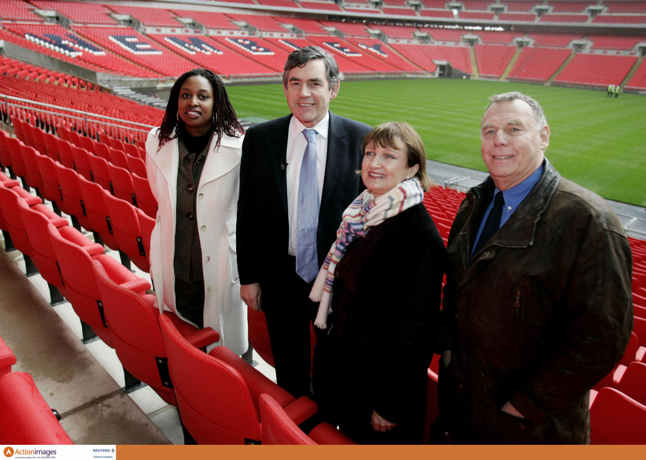 Wnsl Pr Shoot - Wembley National Stadium Limited PR Shoot 12/02/2007 - Wembley Stadium - 12/2/07  Chancellor Gordon Brown unveils the World Cup 2018 Feasibility Study at Wembley Stadium today. He was accompanied by: The Secretary of State for Culture, Media and Sport - Rt Hon Tessa Jowell MP, Minister for Sport - the RT Hon Richard Caborn, MP for Brent South - Dawn Butler MP, the Chair of the All Party Parliamentary Football Group - Alan Keen MP and three U17 England internationals - Moses Barnett (Arsenal), Rhys Murphy (Arsenal) and Jordan Spence (West Ham).  The Chancellor arrived by tube into Wembley Park underground station this morning - one of the three stations that service the Stadium - all of which have been significantly upgraded during the Stadium's construction. Wembley Park, is situated at the end of Olympic Way, known to fans as Wembley Way and will be the main station for fans arriving into Wembley Stadium (a public transport destination) on match days.  Mandatory Credit: Action Images / Alex Morton  Livepic