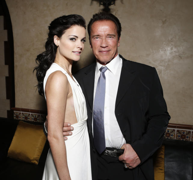 """FILE - in this Jan. 14, 2013 photo, Jaimie Alexander, left, and Arnold Schwarzenegger attend the after party for the LA premiere of """"The Last Stand"""" at Grauman's Chinese Theatre, in Los Angeles. (Photo by Todd Williamson/Invision/AP, File)"""