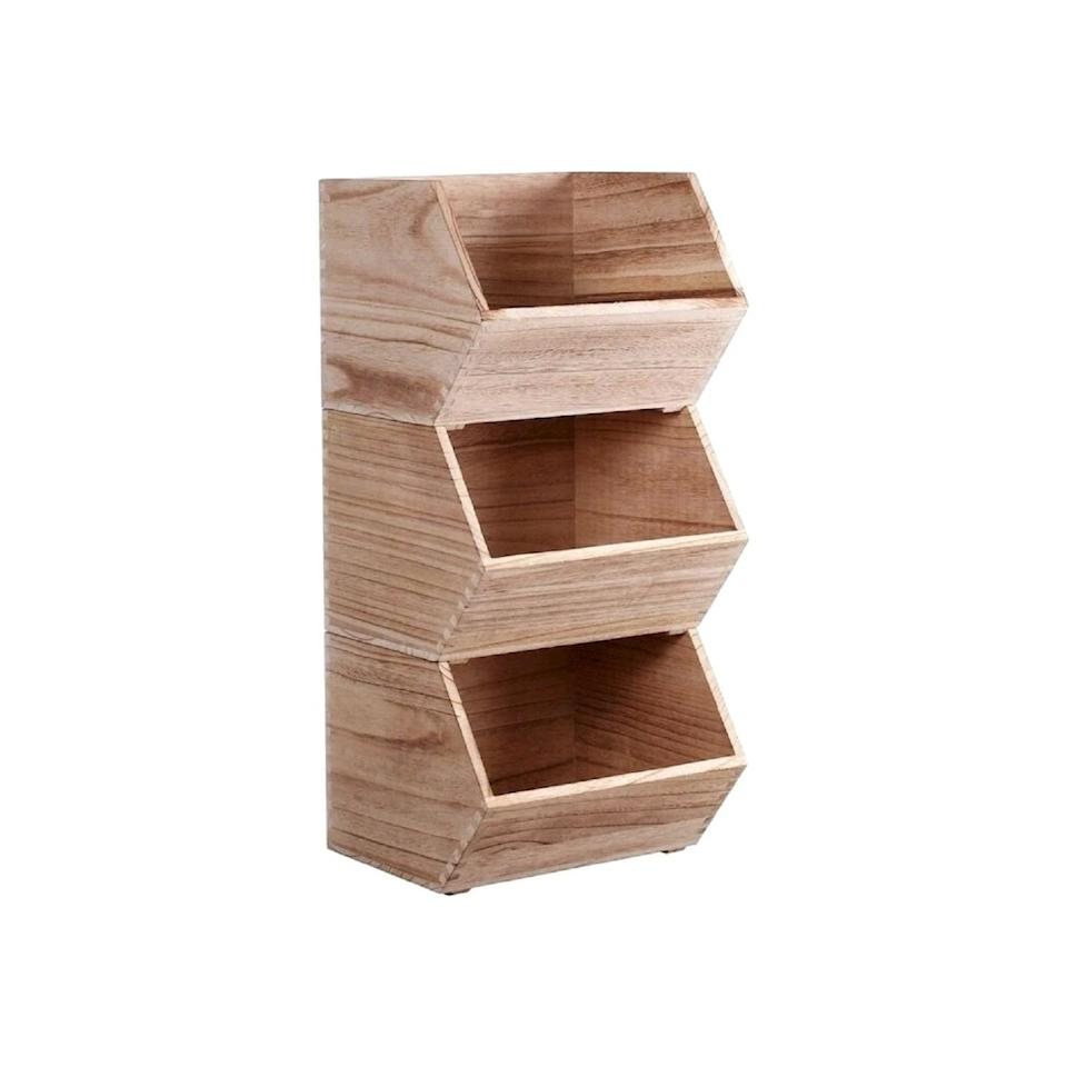 <p>Buy one or buy a bunch! This <span>Pillowfort Stackable Wood Toy Storage Bin</span> ($15) is great for holding toys, books, and anything else that you might need to store.</p>