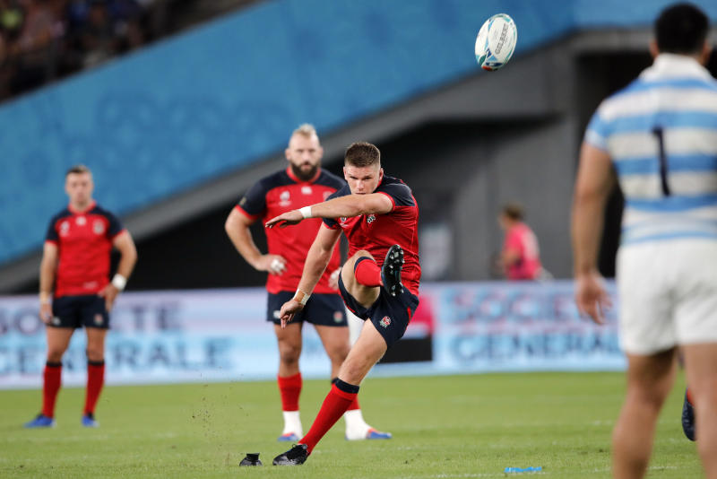 England's Owen Farrell kicks a conversion during the Rugby World Cup Pool C game at Tokyo Stadium between England and Argentina in Tokyo, Japan, Saturday, Oct. 5, 2019. (AP Photo/Christophe Ena)