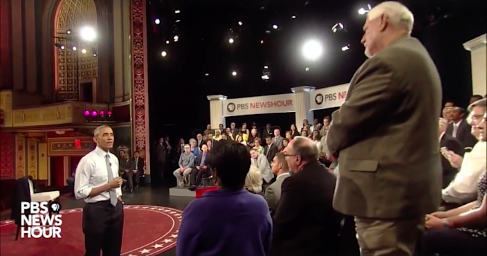 President Obama answers a question on gun control during a June 1 town hall. (PBS NewsHour)
