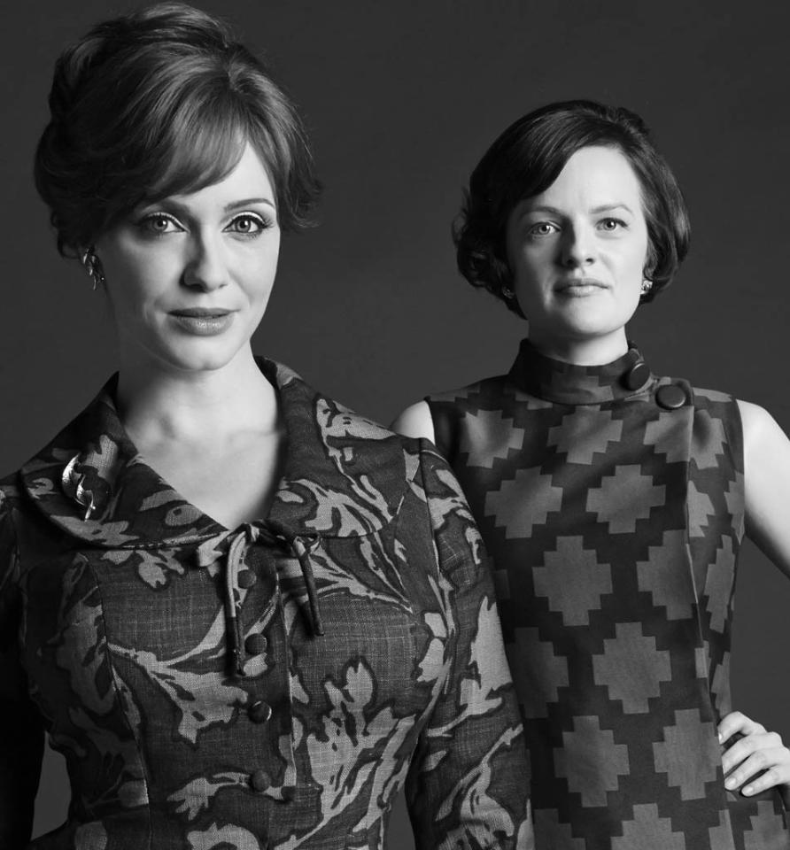 Joan Harris (Christina Hendricks) and Peggy Olson (Elisabeth Moss) - Mad Men - Season 6