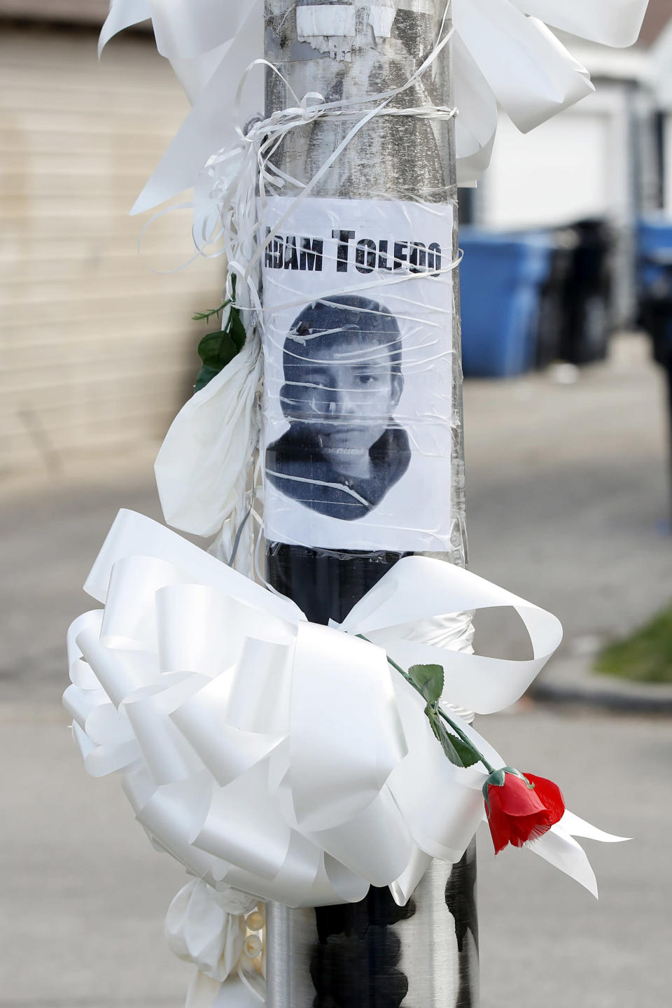 A small memorial where 13-year-old Adam Toledo was shot and killed by a Chicago police officer in the Little Village neighborhood (Kamil Krzaczynski / Getty Images)
