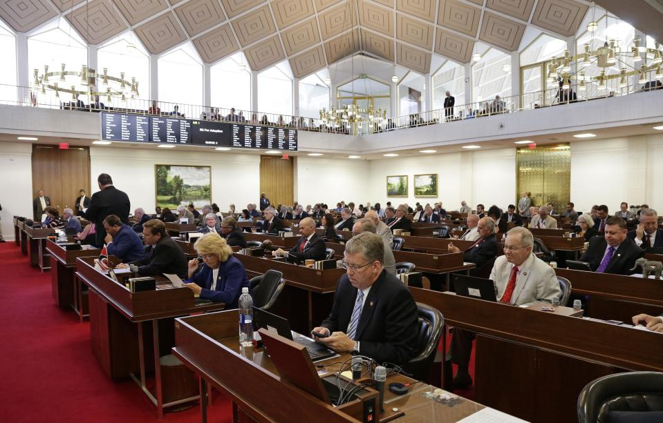 FILE - In this Tuesday, July 24, 2018 file photo, Members of the North Carolina House gather for a special session at the General Assembly in Raleigh, N.C. (AP Photo/Gerry Broome)