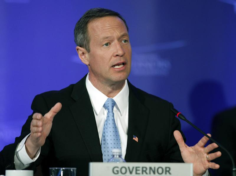 Maryland Gov. Martin O'Malley speaks at the Special Committee on Homeland Security and Public Safety panel during the National Governors Association winter meeting in Washington, on Sunday, Feb. 26, 2012. ( AP Photo/Jose Luis Magana)