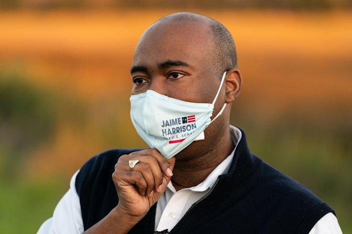 Democratic Senate nominee Jaime Harrison has made his race in deep-red South Carolina against Senator Lindsey Graham competitive. (Getty Images)