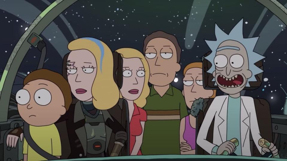 The Smith Family (and Space Beth) ride in Rick's ship in space while Rick smiles and they look uninterested