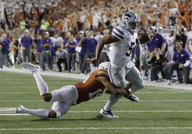 Kansas State QB Alex Delton will make his first career start vs. the No. 6 team in the country. (AP Photo/Eric Gay)