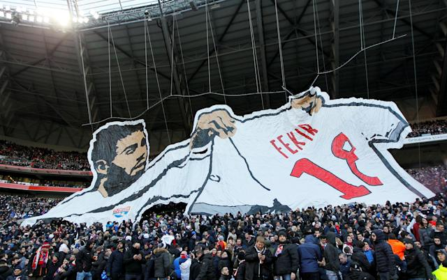 Soccer Football - Ligue 1 - Olympique Lyonnais vs Saint-Etienne - Groupama Stadium, Lyon, France - February 25, 2018 Olympique Lyonnais fans display a banner of Nabil Fekir before the match REUTERS/Emmanuel Foudrot TPX IMAGES OF THE DAY