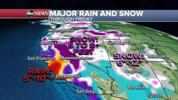 PHOTO: In the Sierra Nevada, up to 100 inches of snow is possible -- more than 8 feet of snow.  (ABC News)