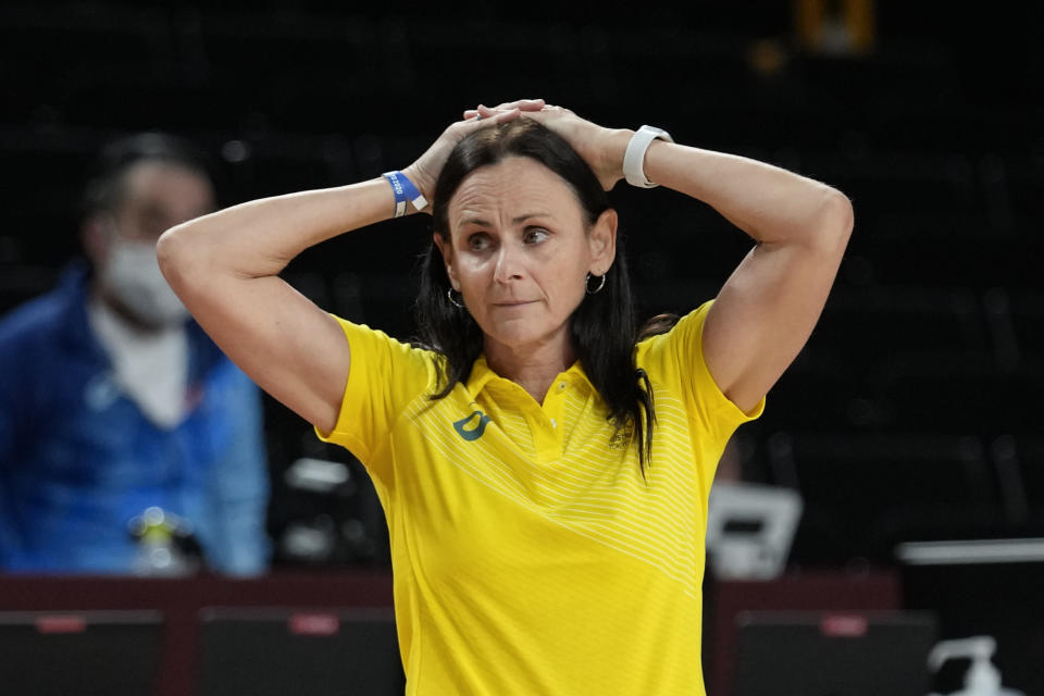 Australia head coach Sandy Brondello watches against China during a women's basketball preliminary round game at the 2020 Summer Olympics in Saitama, Japan, Friday, July 30, 2021. (AP Photo/Eric Gay)