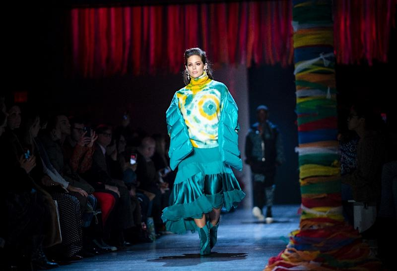 """At Prabal Gurung, autumn looks to be bright and cheerful -- an """"optimistic place,"""" as the designer said in his notes about the collection (AFP Photo/Johannes EISELE)"""