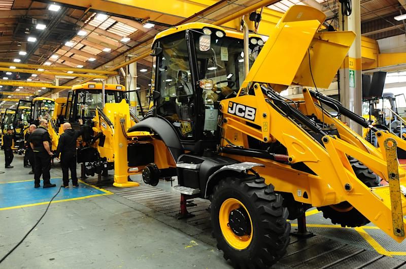 A JCB factory in Staffordshire, England. (PA)