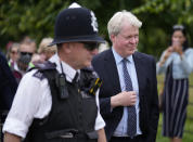 Charles Spencer, the 9th Earl Spencer, arrives at Kensington Palace in London, Thursday, July 1, 2021, to mark what would have been his sister Princess Diana's 60th birthday. Princes William and Harry are due on Thursday to unveil a statue of their mother, Princess Diana, on what would have been her 60th birthday. The event in the Sunken Garden at London's Kensington Palace will be their second public meeting since Harry and Meghan stepped away from royal duties over a year ago. (AP Photo/Frank Augstein)