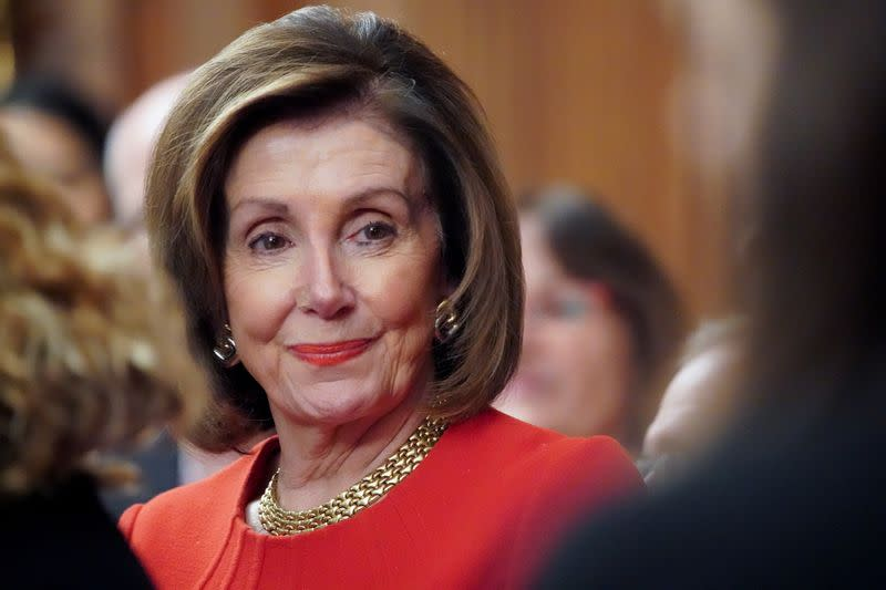 FILE PHOTO: Speaker of the House Pelosi speaks during a news conference at the Capitol in Washington