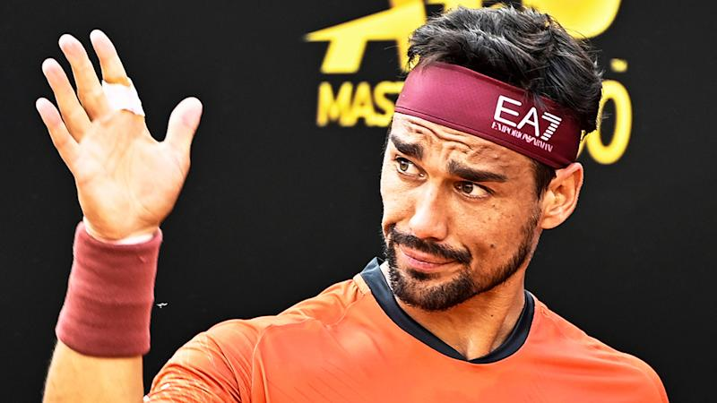 Fabio Fognini (pictured) getting frustrated during a match.