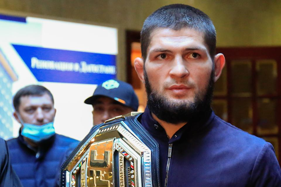 MAKHACHKALA, RUSSIA - OCTOBER 27, 2020: UFC Lightweight Champion Khabib Nurmagomedov is welcomed at a city airport. Nurmagomedov defeated American mixed martial artist Justin Gaethje in the second round at UFC 254 in Abu Dhabi on October 24, 2020, and then announced his retirement after 29 victories and no losses in his career. Press Office of the Head of the Republic of Dagestan/TASS  THIS IMAGE WAS PROVIDED BY A THIRD PARTY. EDITORIAL USE ONLY  (Photo by Press Office of the Head of the \TASS via Getty Images)