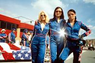 <p>The angels revved up our need to track down these star-spangled jumpsuits in this press shot. </p>