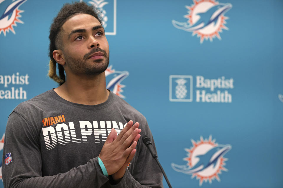 Miami Dolphins wide receiver Will Fuller talks with the media after NFL football practice, Wednesday, Sept. 15, 2021, in Miami Gardens, Fla. The Dolphins host the Buffalo Bills on Sunday. (David Santiago/Miami Herald via AP)
