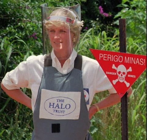 Diana pictured in Angola where she walked through a recently cleared minefield. - Credit: AP