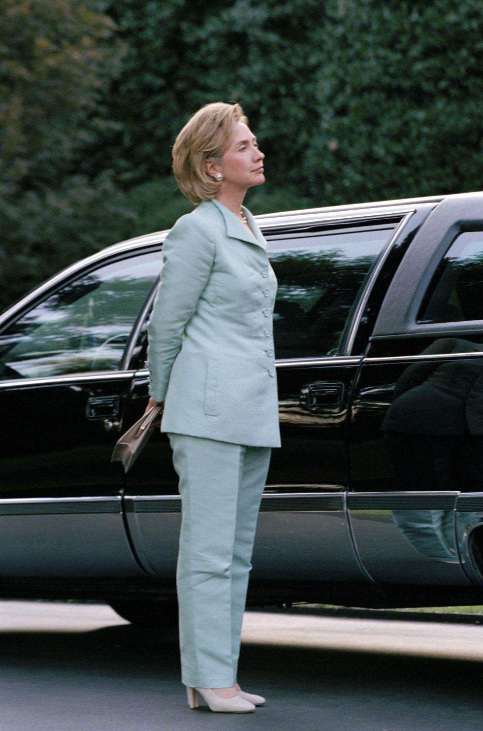 "<p>Hillary Clinton's pantsuits have been <a href=""https://www.bustle.com/articles/86973-5-times-hillary-clintons-style-was-criticized-instead-of-her-ideas"" rel=""nofollow noopener"" target=""_blank"" data-ylk=""slk:a running joke"" class=""link rapid-noclick-resp"">a running joke</a> since her days in the White House with former President Bill Clinton. There's still a handful of people who make fun of her <a href=""https://www.nytimes.com/2016/09/07/us/politics/donald-trump-says-hillary-clinton-doesnt-have-a-presidential-look.html?mtrref=www.google.com&gwh=04FDA53F54BE25537B9A322B64EDA2C1&gwt=pay"" rel=""nofollow noopener"" target=""_blank"" data-ylk=""slk:appearance"" class=""link rapid-noclick-resp"">appearance</a>—including Donald Trump. </p>"