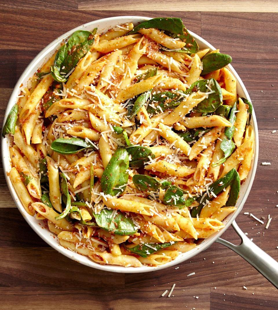 """<p>This deliciously savory red pesto will make you never want to go green again.</p><p>Get the recipe from <a href=""""https://www.delish.com/cooking/recipe-ideas/recipes/a46644/roasted-red-pepper-pesto-penne-recipe/"""" rel=""""nofollow noopener"""" target=""""_blank"""" data-ylk=""""slk:Delish"""" class=""""link rapid-noclick-resp"""">Delish</a>.<br></p>"""