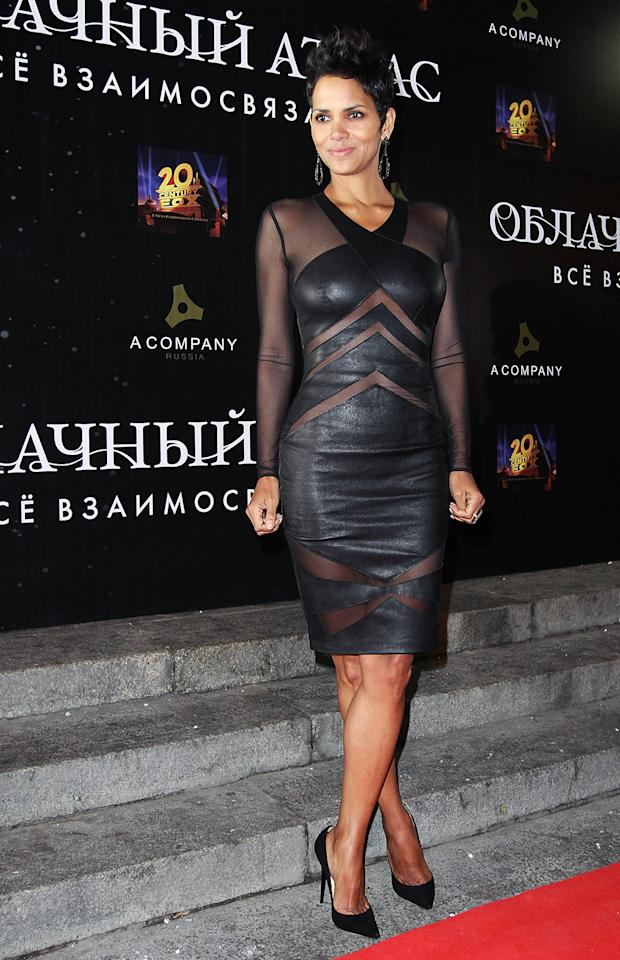 "Halle Berry sizzled in a curve-enhancing black leather Catherine Malandrino dress and gave fashion critics plenty to gush over: ""This dress [complemented] her figure and gave her that sex appeal she perfects every time she is in front of the camera."" It is not the first time Berry has made good use of the cutout trend. The Elie Saab gown she wore for her ""Monster's Ball"" Oscar win was almost as unforgettable as her speech."
