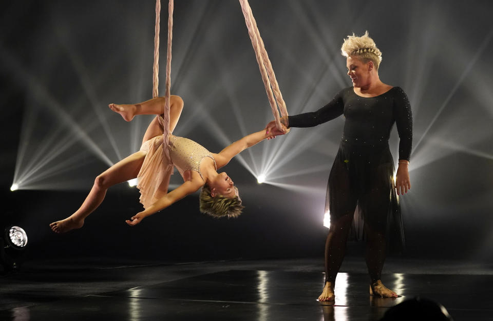Icon award recipient Pink performs with her daughter Willow at the Billboard Music Awards, Friday, May 21, 2021, at the Microsoft Theater in Los Angeles. The awards show airs on May 23 with both live and prerecorded segments. (AP Photo/Chris Pizzello)