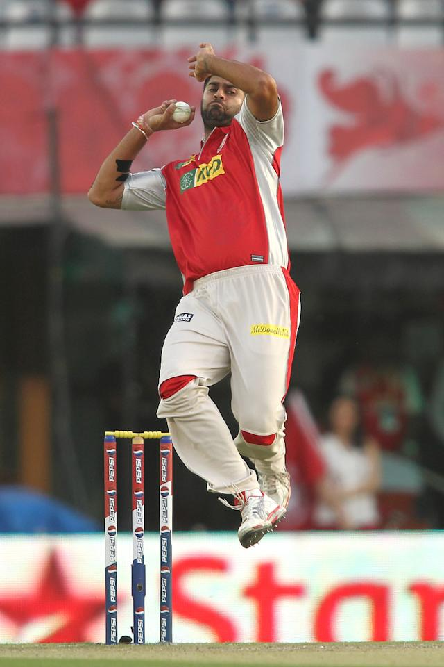 Manpreet Gony of Kings XI Punjab sends down a delivery during match 20 of the Pepsi Indian Premier League between The Kings XI Punjab and the Kolkata Knight Riders held at the PCA Stadium, Mohal, India  on the 16th April 2013..Photo by Shaun Roy-IPL-SPORTZPICS  ..Use of this image is subject to the terms and conditions as outlined by the BCCI. These terms can be found by following this link:..https://ec.yimg.com/ec?url=http%3a%2f%2fwww.sportzpics.co.za%2fimage%2fI0000SoRagM2cIEc&t=1506352235&sig=bzp1Gf3aLwN1BH6BadyHCw--~D