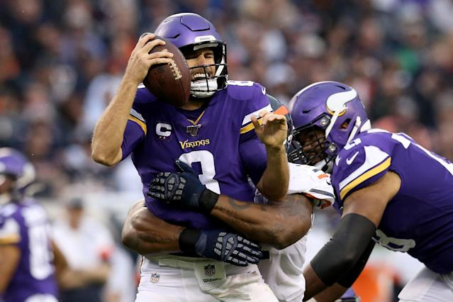 Vikings quarterback Kirk Cousins had a rough day against the Bears. (Getty Images)