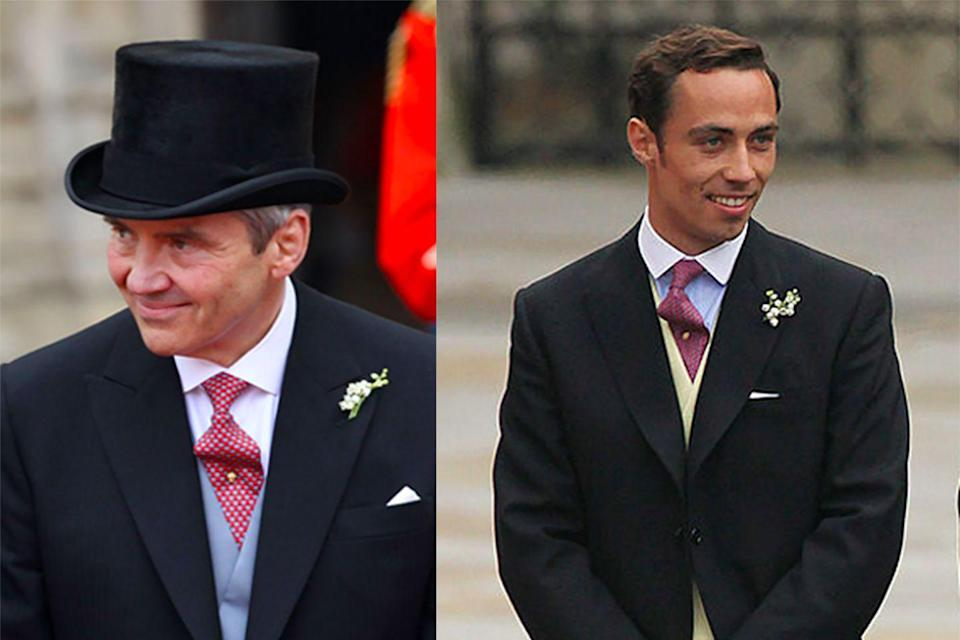 <p>Also paying tribute to the Middleton coat of arms was the father of the bride and her brother, James.</p><p>Both the men wore gold stick pins on their ties; one featured a gold acorn at the head while the other had an oak leaf, also designed by Robinson Pelham.</p>