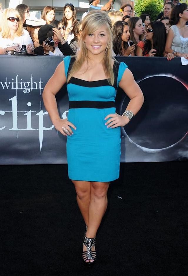 "Gymnast Shawn Johnson arrives at the premiere of Summit Entertainment's ""The Twilight Saga: Eclipse"" during the 2010 Los Angeles Film Festival at Nokia Theatre L.A. Live on June 24, 2010 in Los Angeles, California."