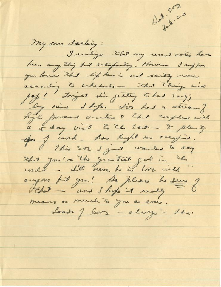 In this undated photo provided by Profile in History, a letter from U.S. Major General Dwight D. Eisenhower to his wife, Mamie, while he was stationed abroad during World War II is shown. The letter is among 58 handwritten letters penned by Eisenhower that will be offered during an online auction by Profiles in History on Wednesday, May 8, 2013. (AP Photo/Profiles in History)