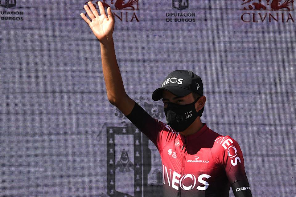 LAGUNAS DE NEILA SPAIN  AUGUST 01 Podium  Ivan Ramiro Sosa Cuervo of Colombia and Team INEOS  Celebration  Trophy  during the 42nd Vuelta a Burgos 2020 Stage 5 a 158km stage from Covarrubias to Lagunas de Neila 1872m  VueltaBurgos  on August 01 2020 in Lagunas de Neila Spain Photo by David RamosGetty Images
