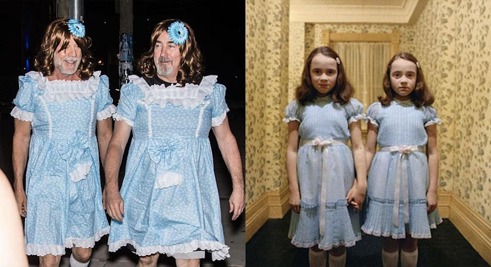 <p>Bruce Willis and chum dressed as the Grady Twins from 'The Shining' for their shindig (Twitter/Warner Bros.) </p>