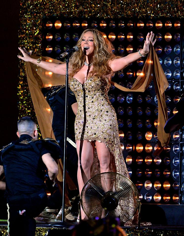 "Replacing Steven (and J.Lo) on the ""Idol"" judging panel this coming season is Mariah Carey, who emancipated Mimi along with a fashion faux pas (complete with two tons of hair extensions) during the 2012 NFL Kick-Off Concert in Rockefeller Center on Wednesday evening. (9/5/2012)<br><br><a target=""_blank"" href=""http://omg.yahoo.com/news/mariah-carey-lobbies-lenny-kravitz-idol-judge-search-205656890.html"">Mariah lobbies for Lenny in 'Idol' judge search</a>"