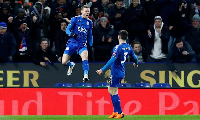 Jamie Vardy jumps for joy after breaking the deadlock in Leicester's FA Cup fifth-round tie with Sheffield United.