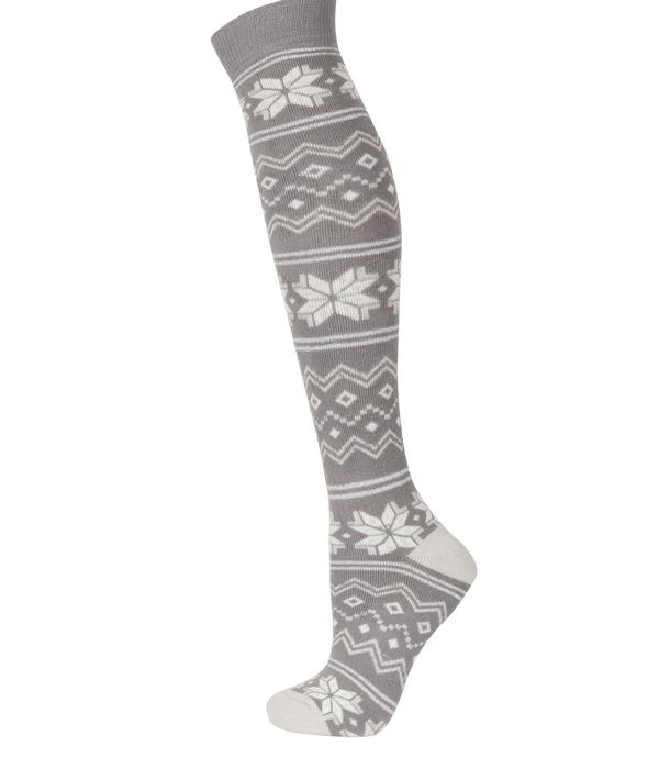 Snow style: Layering is key to staying toasty and these fair isle socks are just the ticket