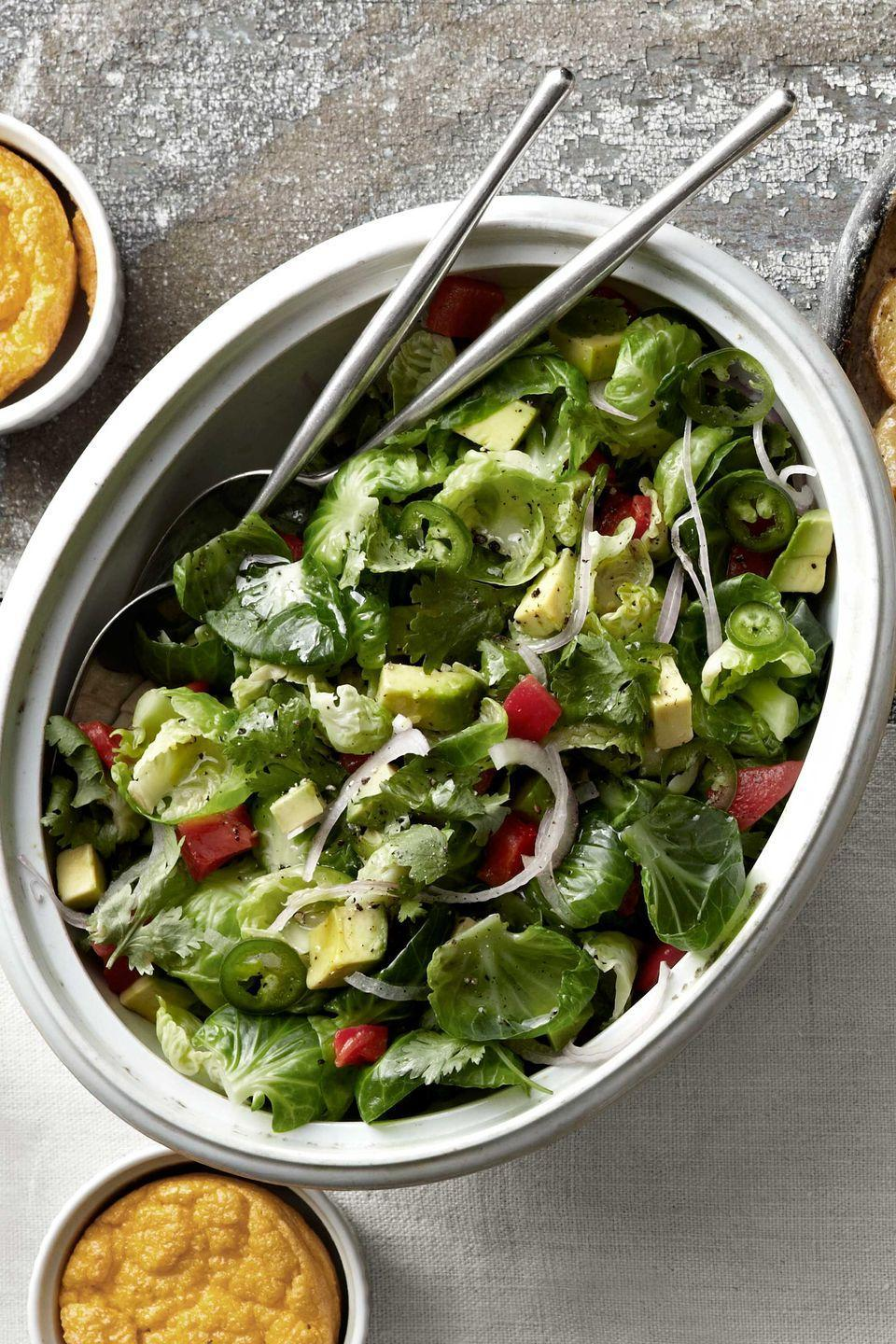 "<p class=""imageContent"">Try something new with Brussels sprouts, like this salad from Marvin Woods, chef and author of <a href=""http://www.amazon.com/Home-Plate-Cooking-Everyday-Southern/dp/1401602029?tag=syn-yahoo-20&ascsubtag=%5Bartid%7C10050.g.896%5Bsrc%7Cyahoo-us"" rel=""nofollow noopener"" target=""_blank"" data-ylk=""slk:Home Plate Cooking"" class=""link rapid-noclick-resp""><em>Home Plate Cooking</em></a>. Add red onion, cilantro, peppers, avocado, and dressing to the little cabbages.</p><p class=""imageContent""><strong><a href=""https://www.countryliving.com/food-drinks/recipes/a3466/brussels-sprouts-salad-recipe-clv1010/"" rel=""nofollow noopener"" target=""_blank"" data-ylk=""slk:Get the recipe"" class=""link rapid-noclick-resp"">Get the recipe</a>.</strong></p>"