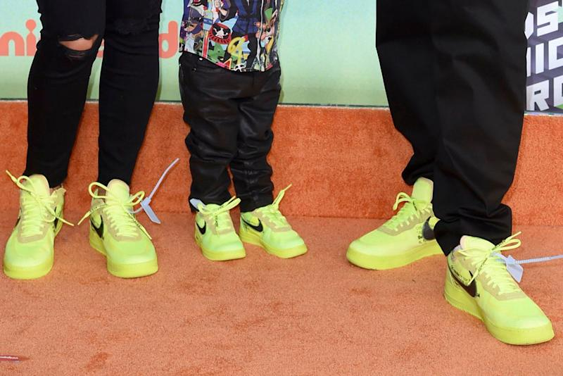 (L-R): Nicole Tuck, Asahd and DJ Khaled, sneakers, red carpet, off-white x nike
