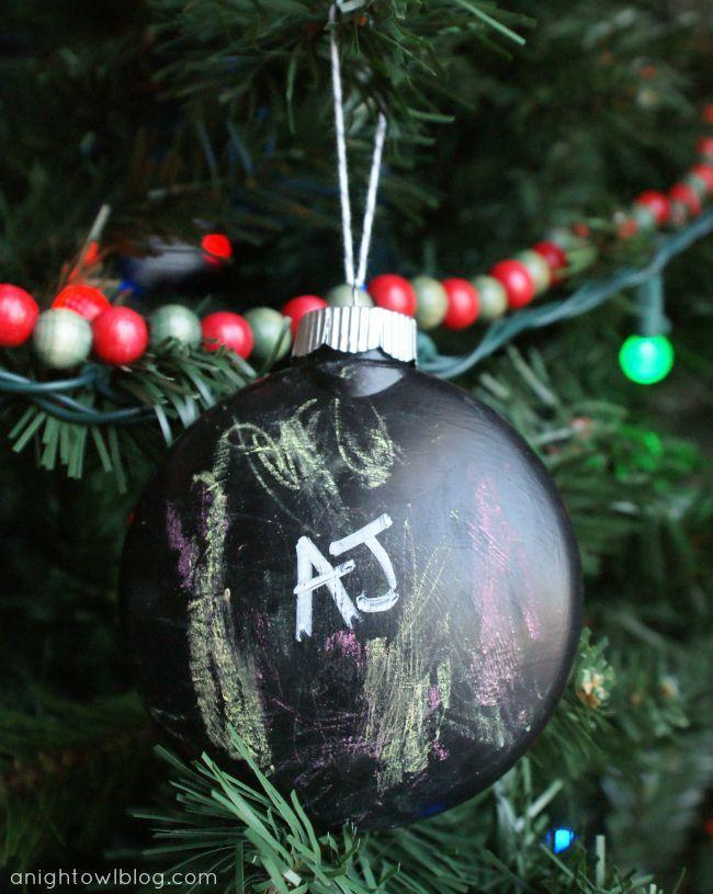 """<p>Use chalkboard paint to create a DIY ornament that the kids can alter as frequently as they change their minds (very frequently, as any parent can attest). </p><p><em>Get the tutorial at <a href=""""https://www.anightowlblog.com/trim-your-tree-diy-kids-chalkboard-ornament/"""" rel=""""nofollow noopener"""" target=""""_blank"""" data-ylk=""""slk:A Night Owl Blog"""" class=""""link rapid-noclick-resp"""">A Night Owl Blog</a>.</em></p><p><a class=""""link rapid-noclick-resp"""" href=""""https://www.amazon.com/Chalkboard-Paint-kit-Surfaces-Furniture/dp/B01ND443DV/?tag=syn-yahoo-20&ascsubtag=%5Bartid%7C10072.g.34443405%5Bsrc%7Cyahoo-us"""" rel=""""nofollow noopener"""" target=""""_blank"""" data-ylk=""""slk:SHOP CHALKBOARD PAINT"""">SHOP CHALKBOARD PAINT</a><br></p>"""