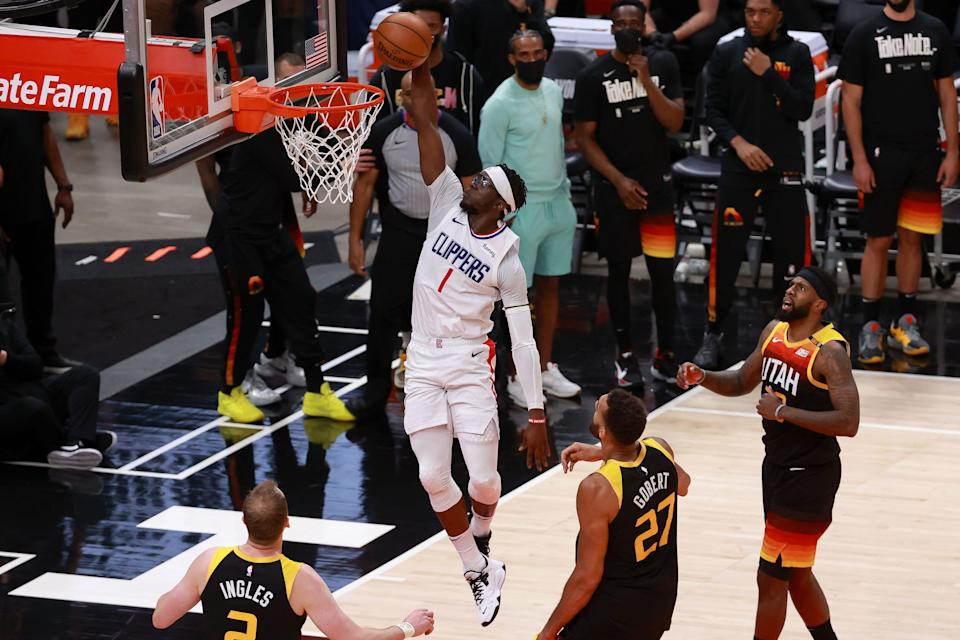 Reggie Jackson (1) paced the Clippers with 29 points, outscoring L.A. stars Kawhi Leonard (27 points) and Paul George (21 points).