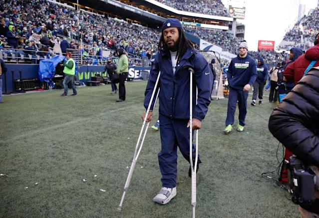 "<a class=""link rapid-noclick-resp"" href=""/nfl/players/24941/"" data-ylk=""slk:Richard Sherman"">Richard Sherman</a> lost much of 2017 to injury. (Getty)"