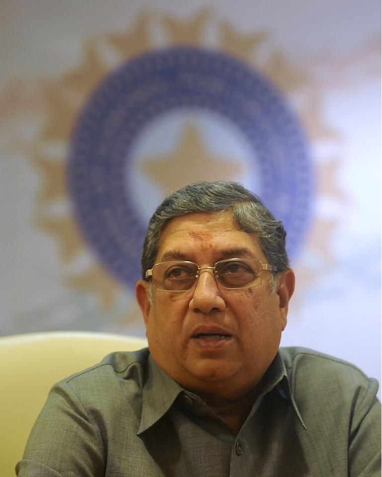 Board of Control for Cricket in India (BCCI) President N. Srinivasan speaks during a news conference at their head office in Mumbai on September 27, 2012. Former Indian cricketer Sandeep Patil was appointed the Chairman of the national selection committee on September 27, while Mohinder Amarnath was sacked after serving just one year in the panel. AFP PHOTO / PUNIT PARANJPE