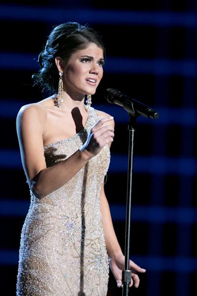 """This photo courtesy Miss America Organization shows Miss Maryland Joanna Guy took top honors Wednesday, Jan. 9, 2013, after singing """"I Dreamed a Dream"""" at the Miss America preliminary competition at the Planet Hollywood Resort & Casino in Las Vegas. The 21-year-old from Swanton, Md., will take home a $2,000 Amway scholarship. (AP Photo/Courtesy Miss America Organization)"""
